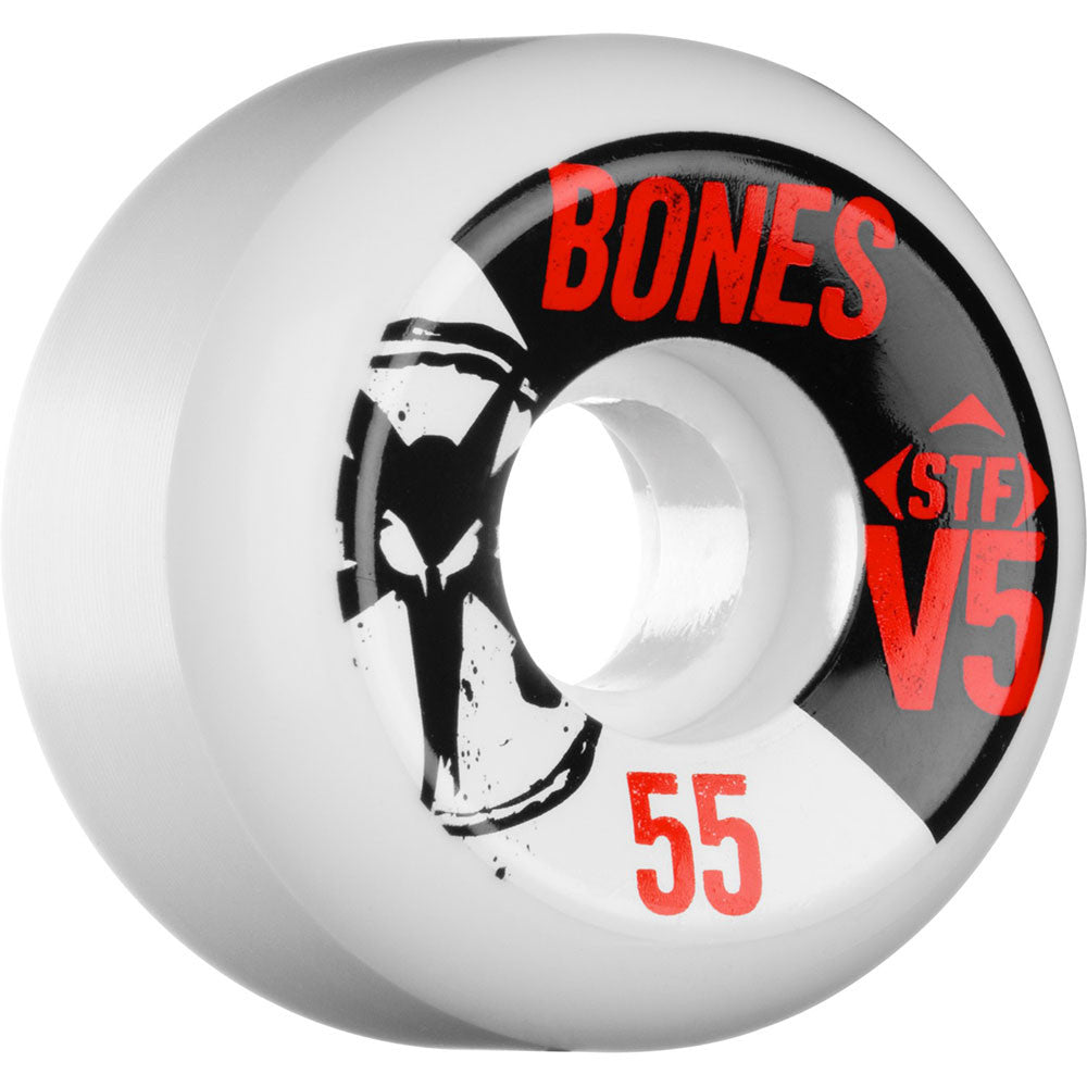 Bones STF V5 Series - White - 55mm 83b - Skateboard Wheels (Set of 4)