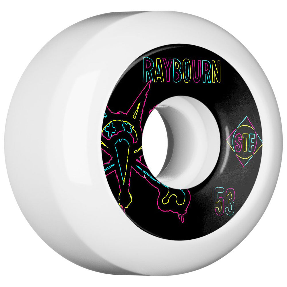 Bones STF Raybourn Neon V5 - White - 53mm - Skateboard Wheels (Set of 4)