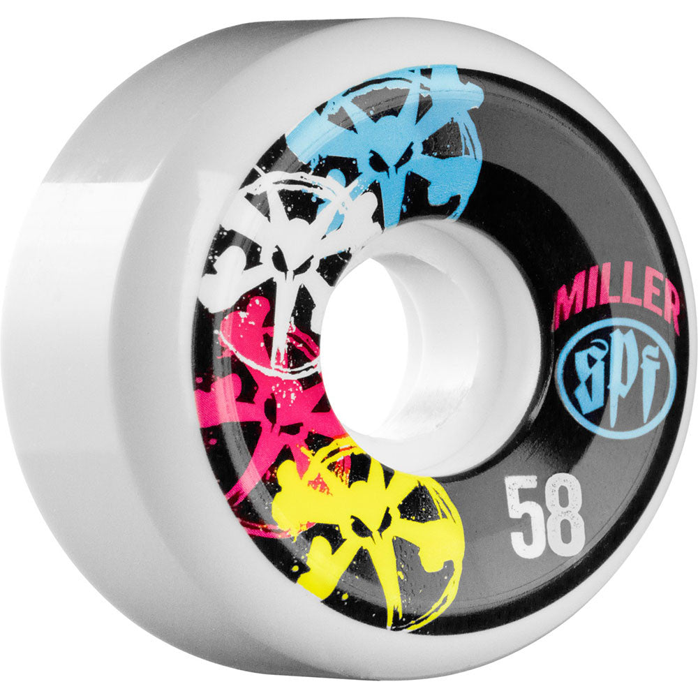Bones SPF Miller CMYK - White - 58mm - Skateboard Wheels (Set of 4)