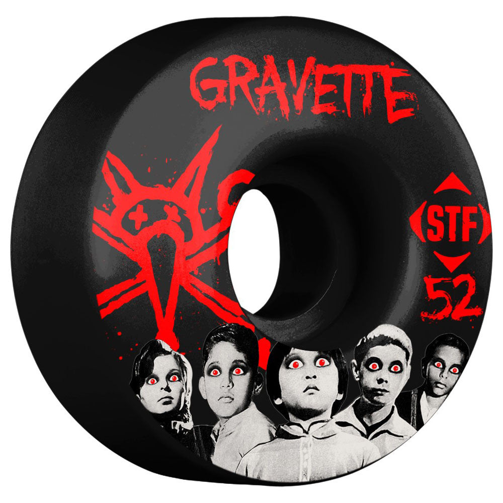 Bones STF Gravette Seed V3 - Black - 52mm - Skateboard Wheels (Set of 4)