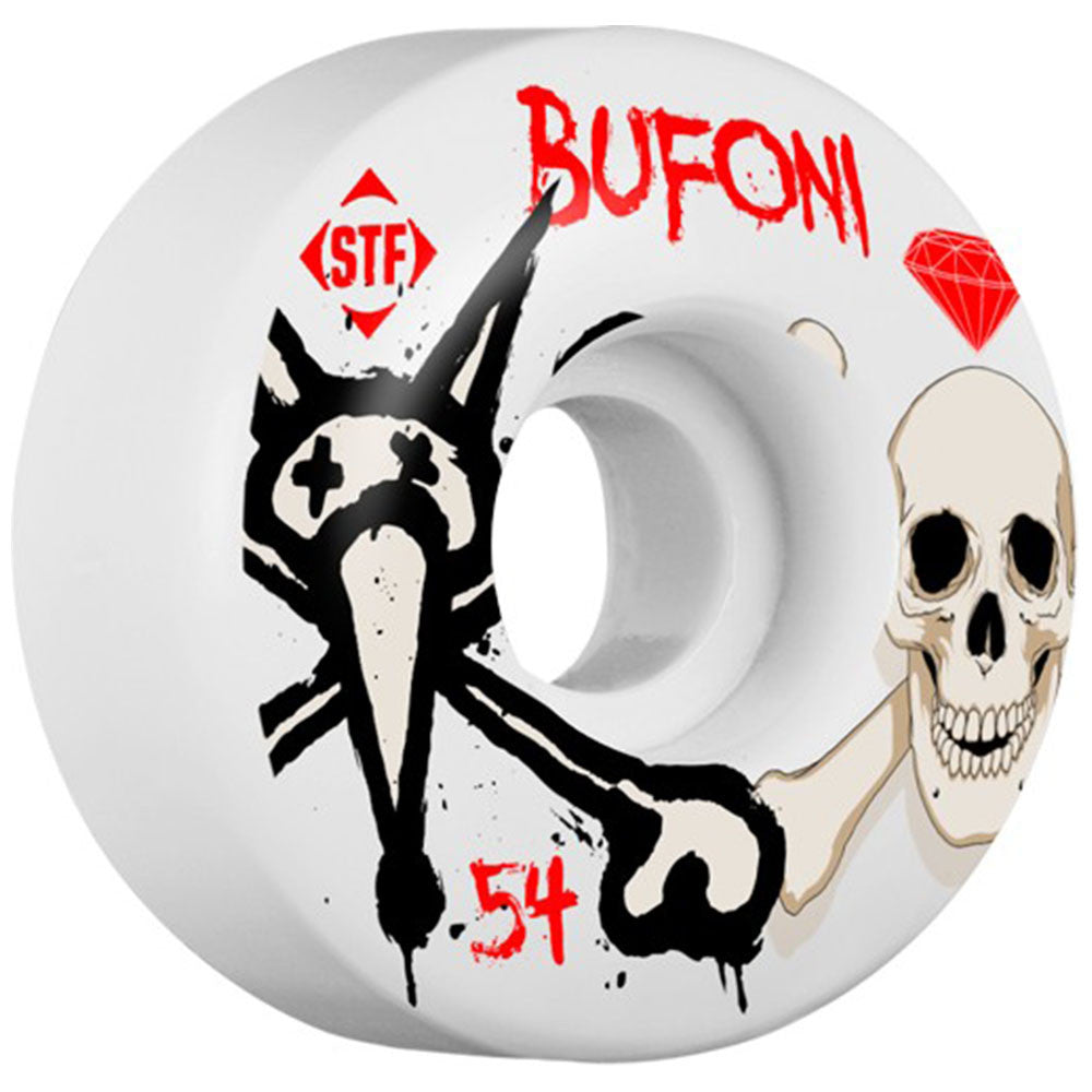 Bones STF Bufoni Crest V1 - White - 54mm - Skateboard Wheels (Set of 4)