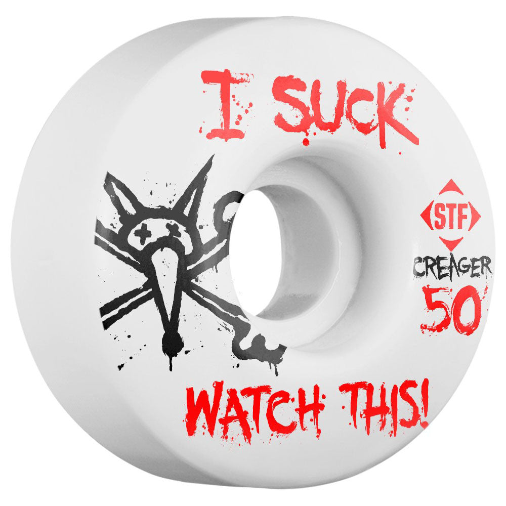 Bones STF Creager I Suck V3 - White - 50mm - Skateboard Wheels (Set of 4)