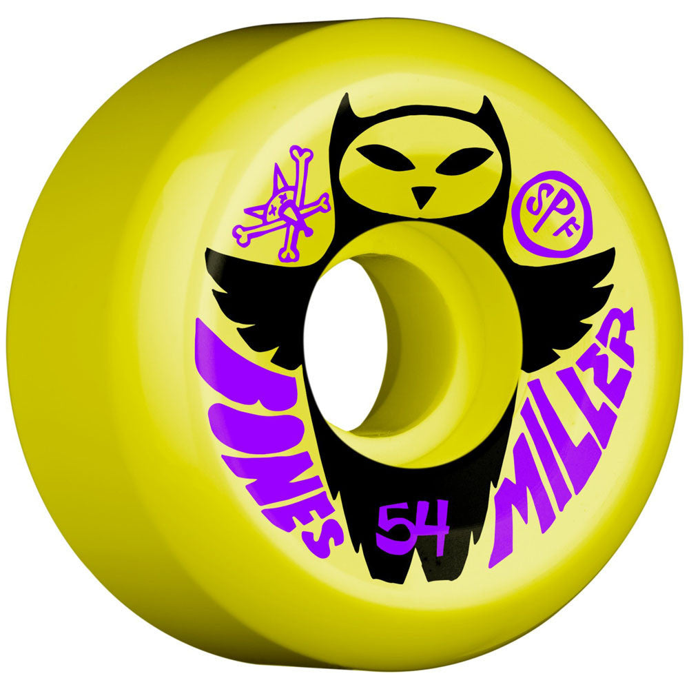 Bones Pro Miller Owl SPF - Yellow - 54mm - Skateboard Wheels (Set of 4)