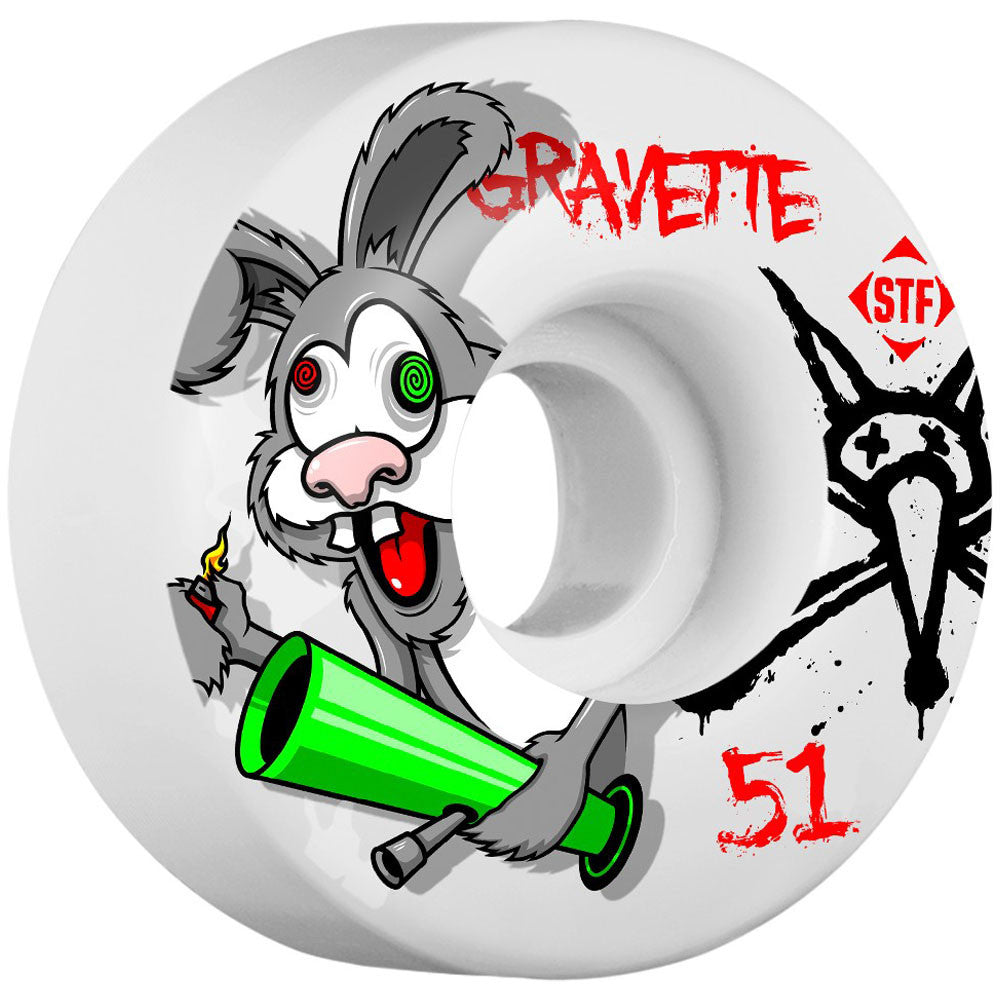 Bones Pro Gravette Bonkers STF V2 - White - 51mm - Skateboard Wheels (Set of 4)