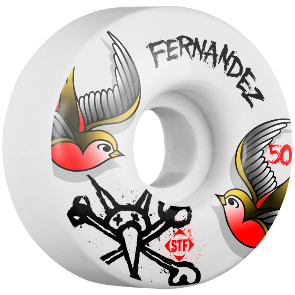 Bones Pro Fernandez Sparrow STF V1 - White - 50mm - Skateboard Wheels (Set of 4)