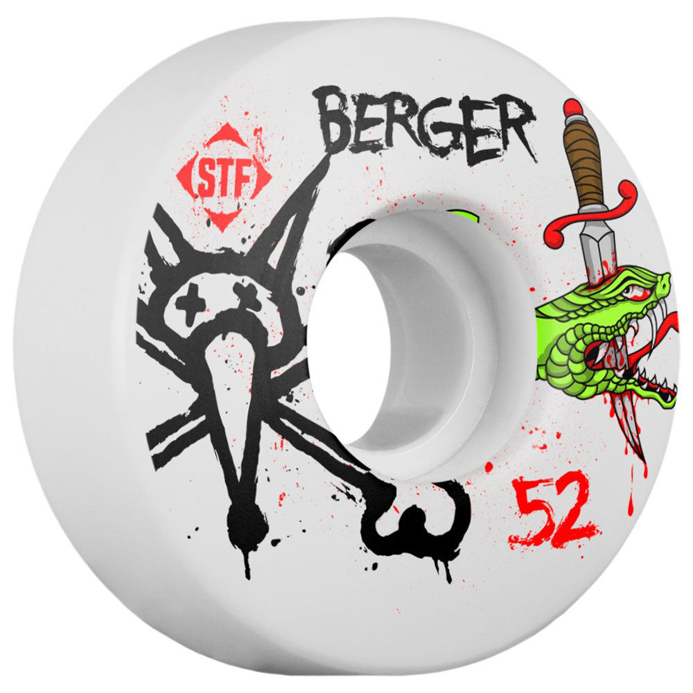 Bones Pro Berger Snake STF V3 - White - 52mm - Skateboard Wheels (Set of 4)