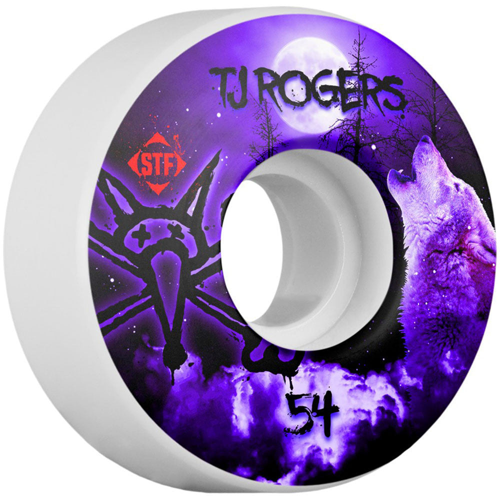 Bones Pro Rogers Howl STF V3 - White - 54mm - Skateboard Wheels (Set of 4)