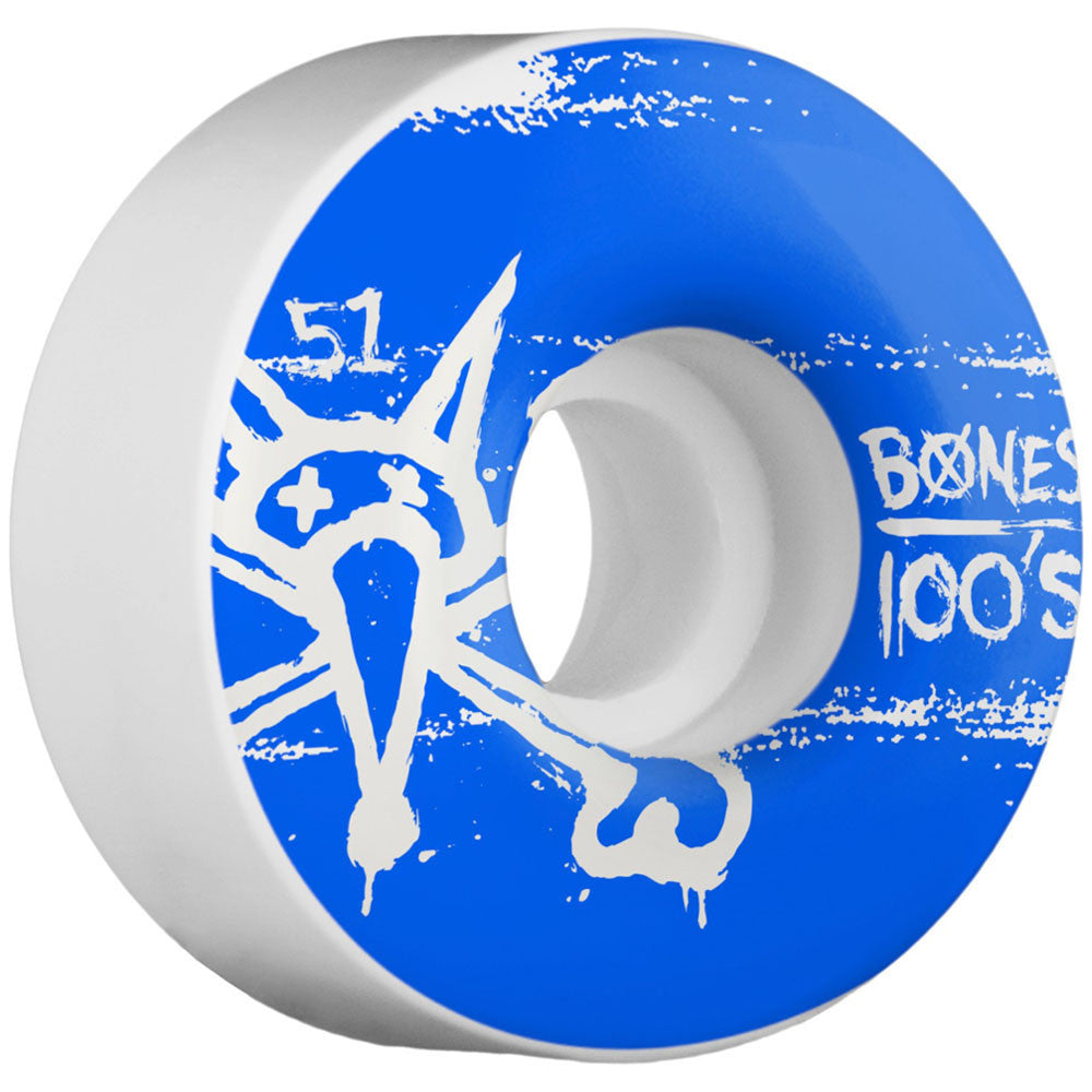 Bones 100's V4 - White - 51mm - Skateboard Wheels (Set of 4)