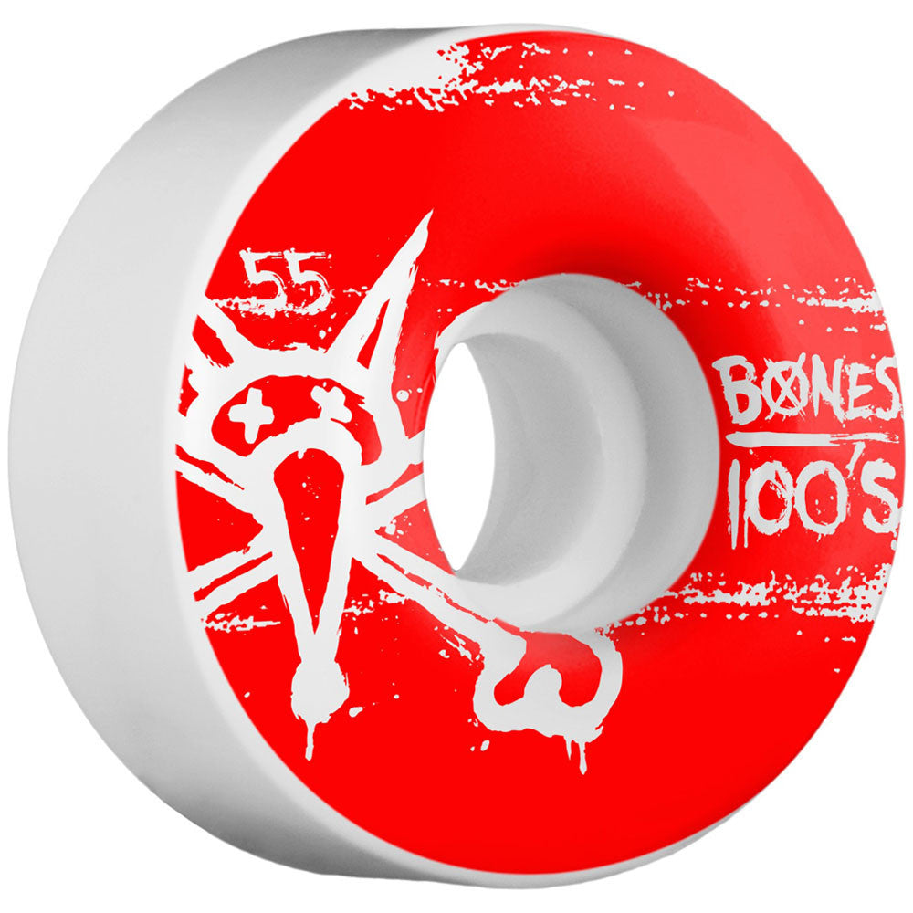 Bones 100's V4 - White - 55mm - Skateboard Wheels (Set of 4)
