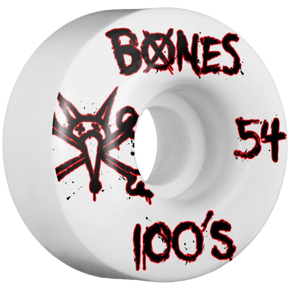 Bones 100's V1 - White - 54mm - Skateboard Wheels (Set of 4)