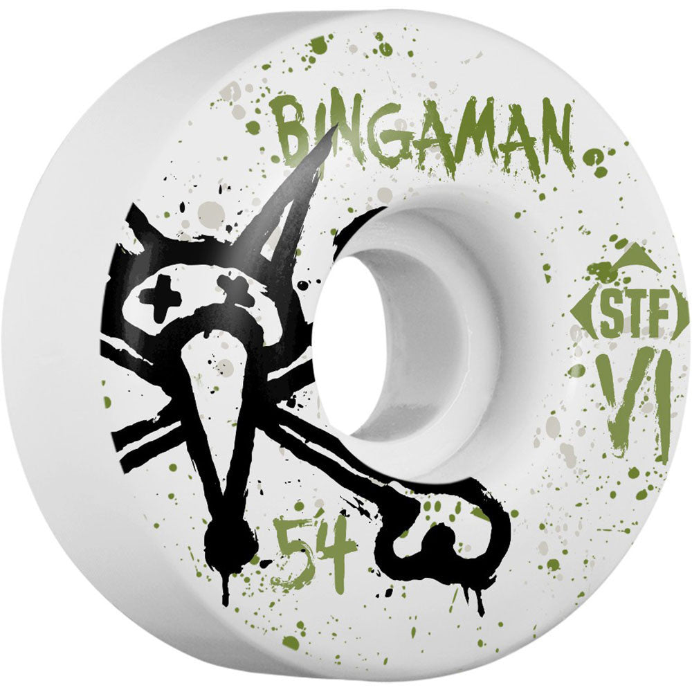 Bones STF Pro Bingaman Team Vato Op - White - 54mm - Skateboard Wheels (Set of 4)