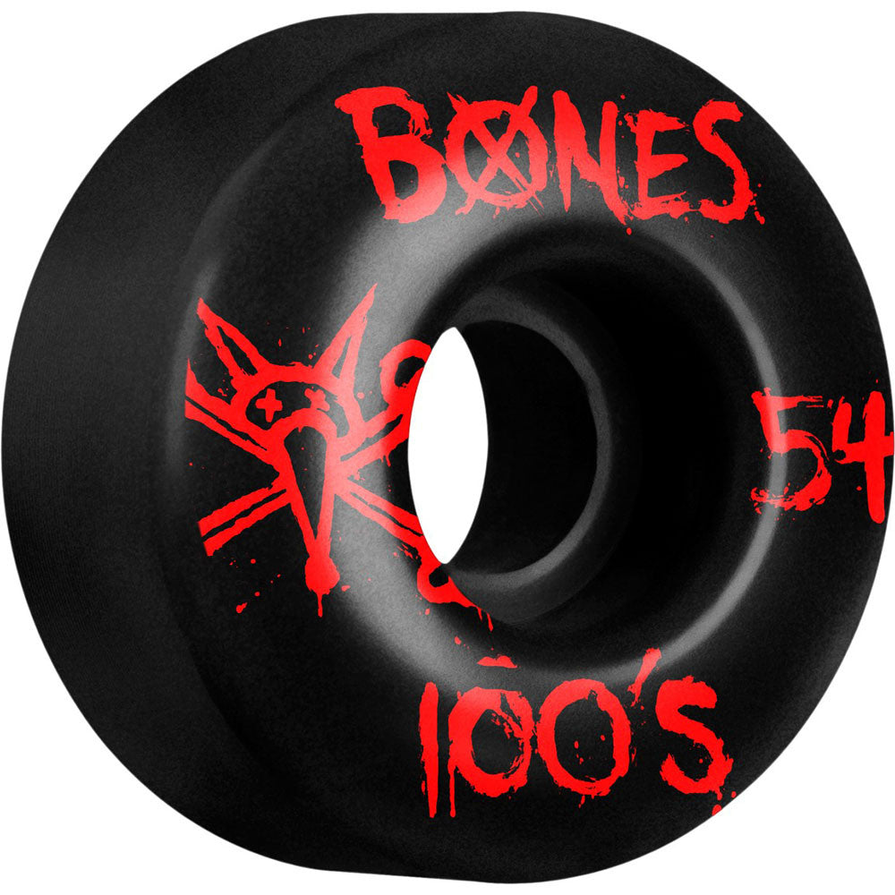 Bones 100's V4 - Black - 54mm 100a - Skateboard Wheels (Set of 4)