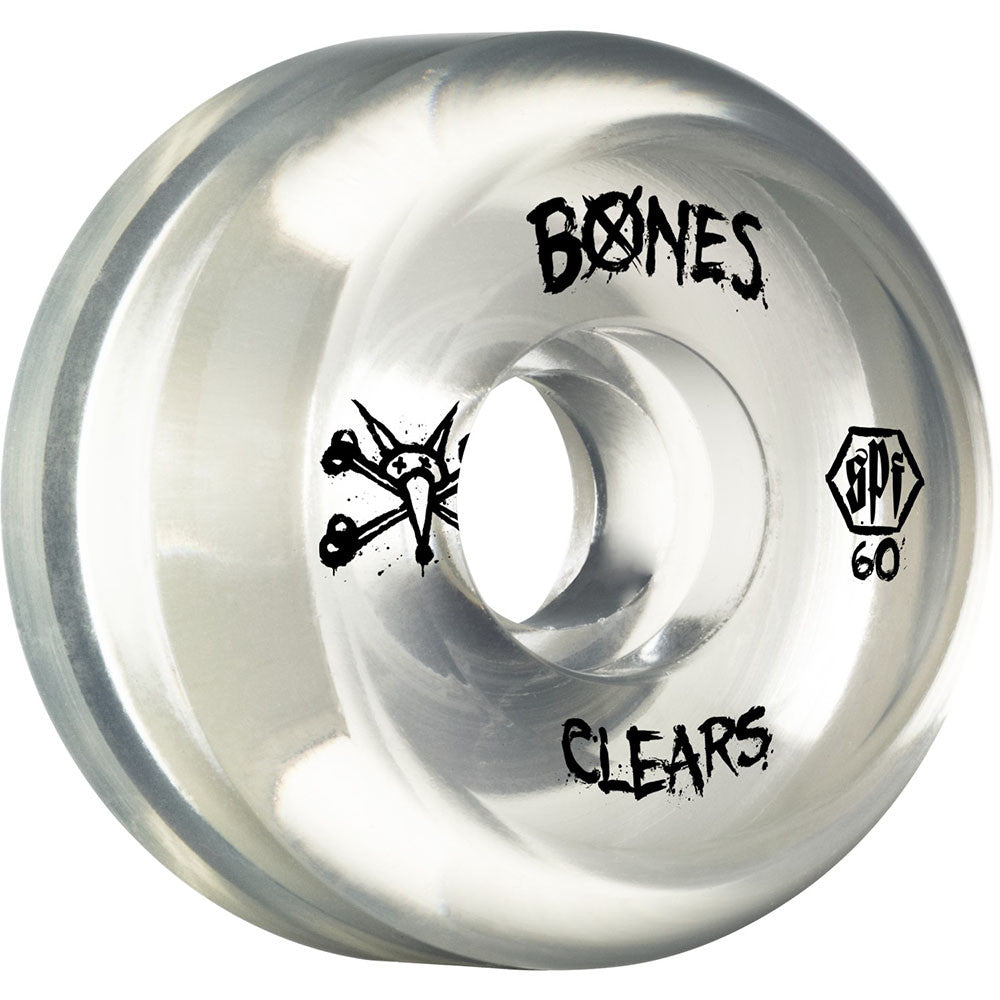 Bones Clear SPF - Clear - 60mm 84b - Skateboard Wheels (Set of 4)