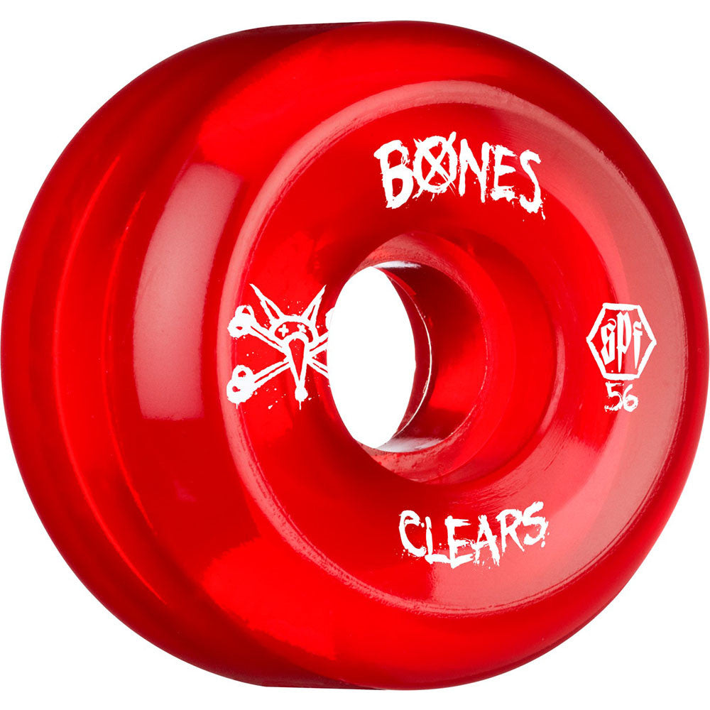 Bones Clear SPF - Red - 56mm 84b - Skateboard Wheels (Set of 4)