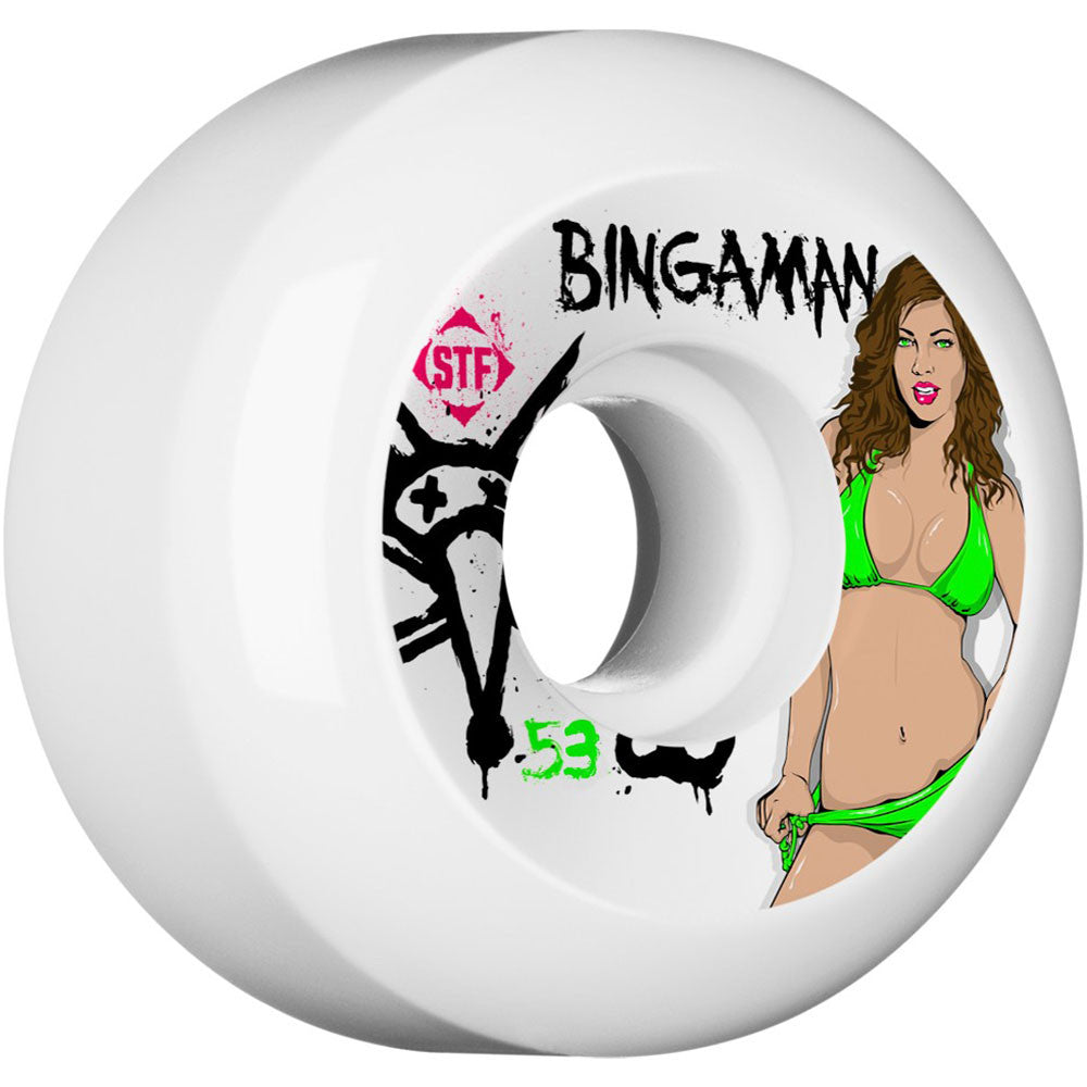 Bones STF Pro Bingaman Pin Up - White - 53mm 83b - Skateboard Wheels (Set of 4)