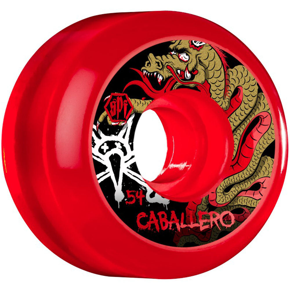 Bones SPF Caballero Dragon - Clear Red - 54mm 84b - Skateboard Wheels (Set of 4)