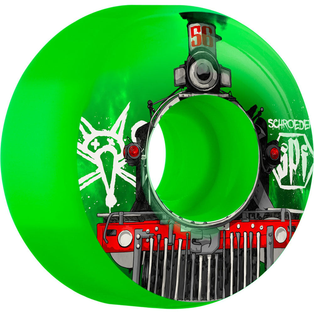 Bones SPF Pro Schroeder Train - Green - 56mm 84b - Skateboard Wheels (Set of 4)