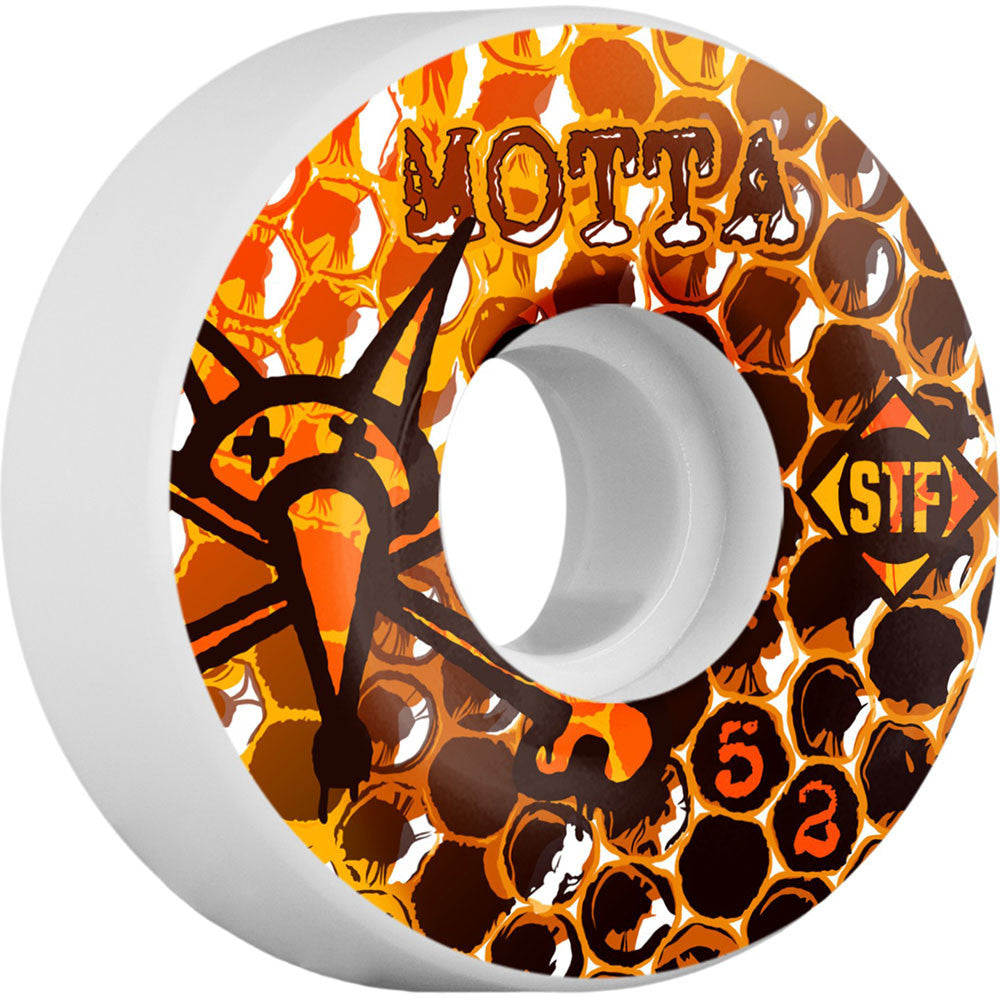 Bones STF Pro Motta Beezwax - Orange/White - 52mm 83b - Skateboard Wheels (Set of 4)