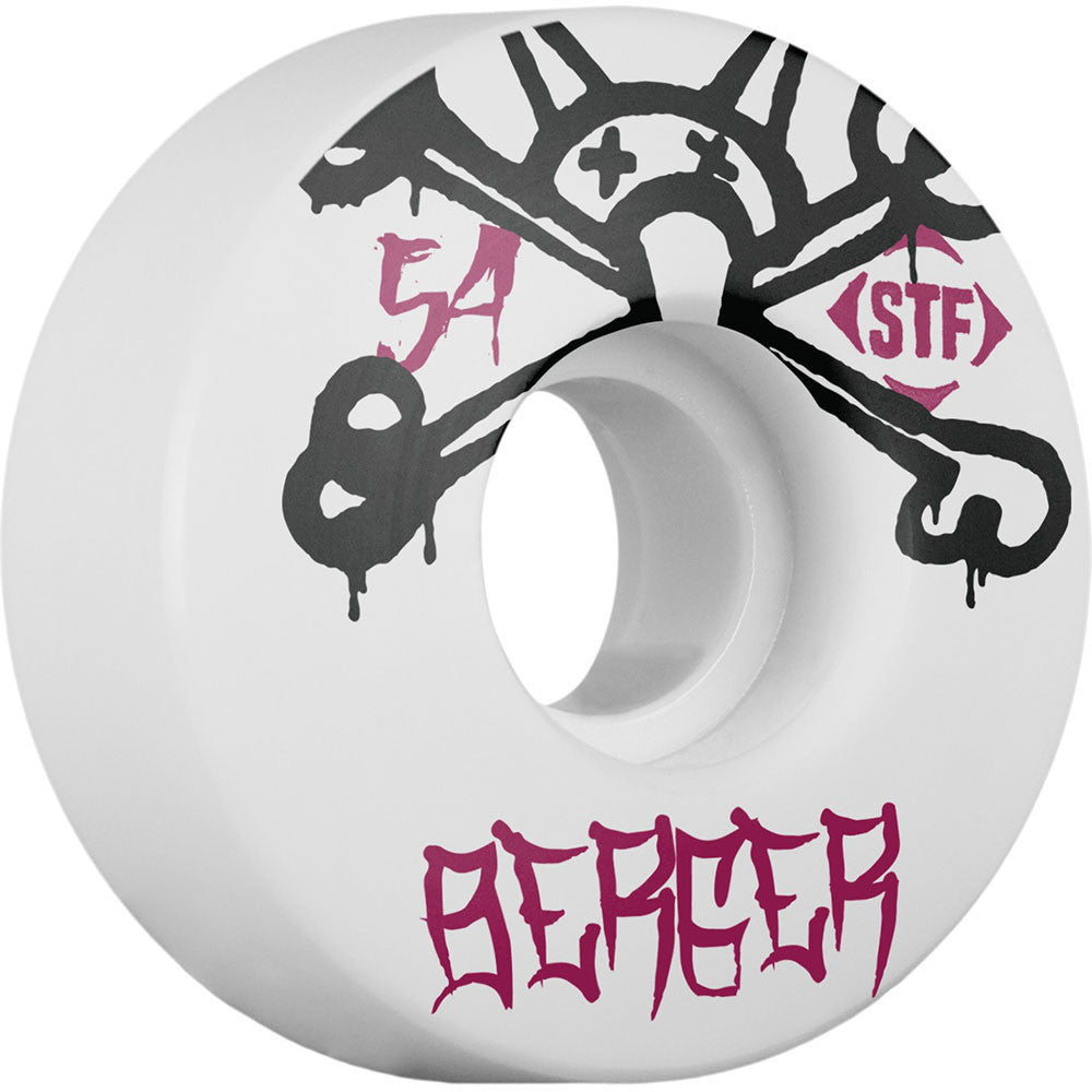 Bones STF Pro Berger Mad Chavo - White - 54mm 83b - Skateboard Wheels (Set of 4)