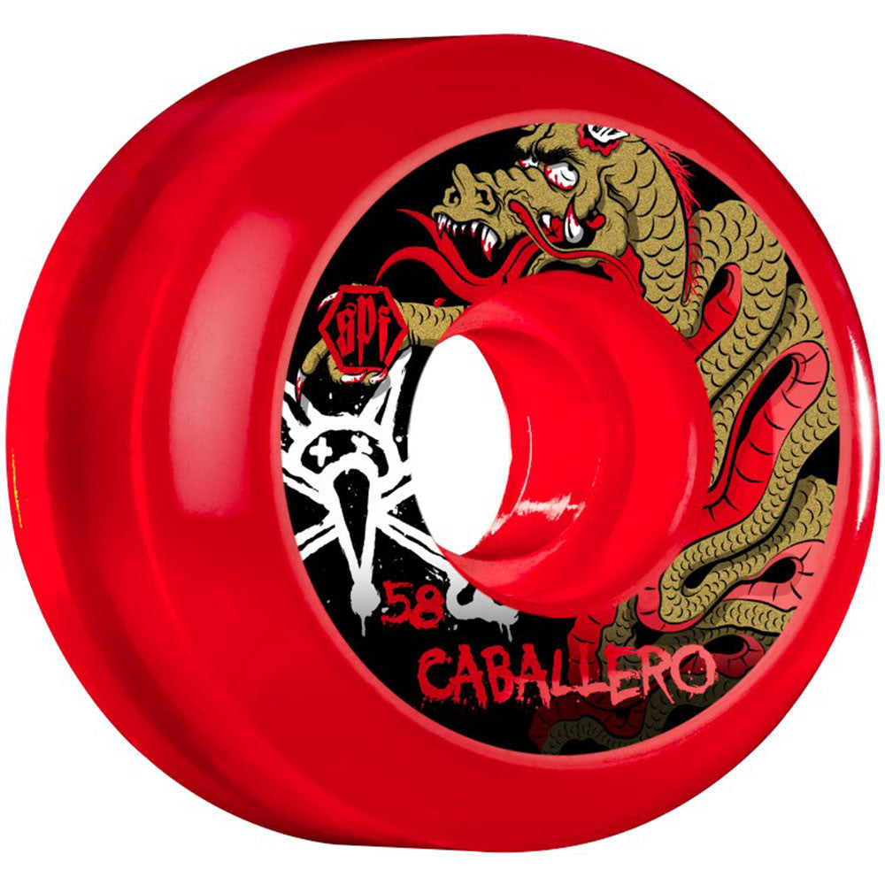 Bones SPF Caballero Dragon - Clear Red - 58mm 84b - Skateboard Wheels (Set of 4)