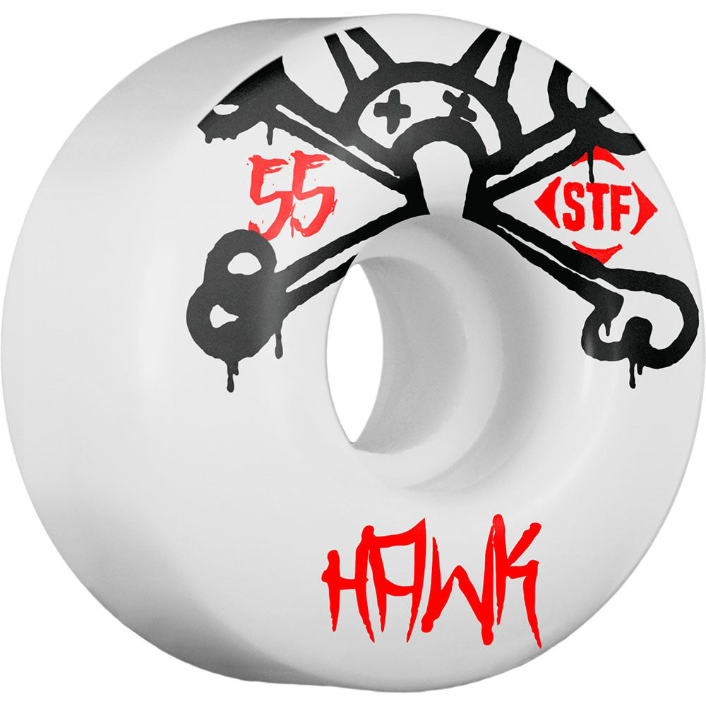 Bones STF Pro Hawk Mad Chavo - White - 55mm 83b - Skateboard Wheels (Set of 4)