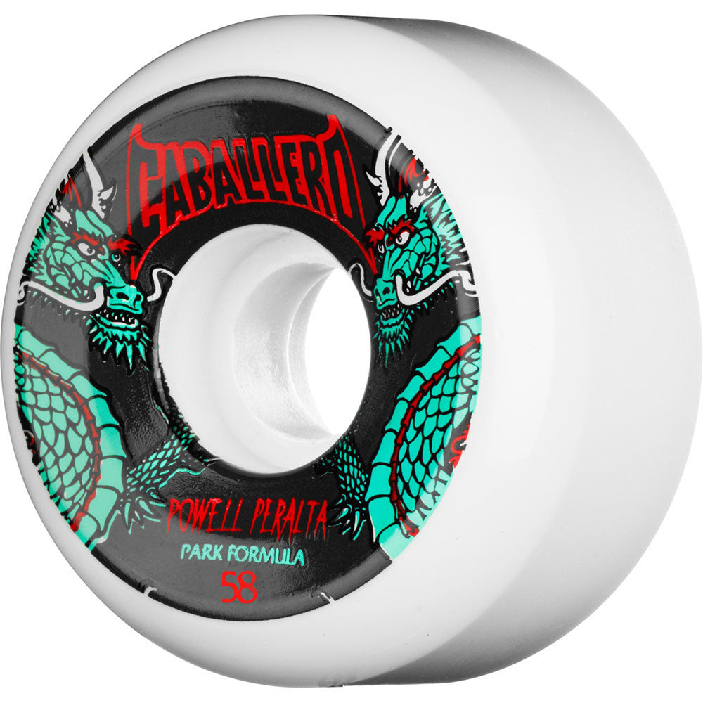 Bones SPF Pro Steve Caballero Dragon - White - 58mm 84b - Skateboard Wheels (Set of 4)