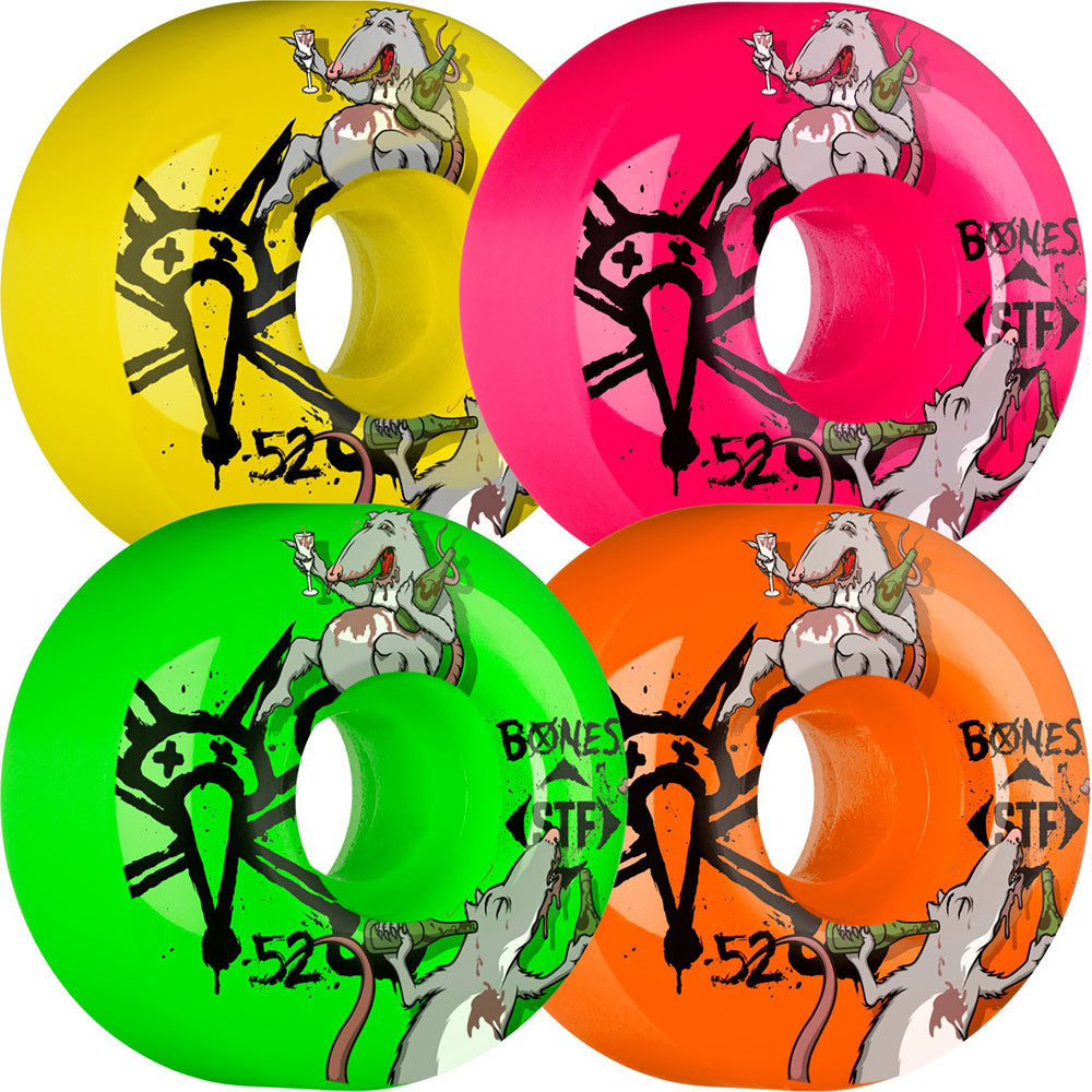 Bones STF Party Pack III - Assorted - 52mm 103a - Skateboard Wheels (Set of 4)