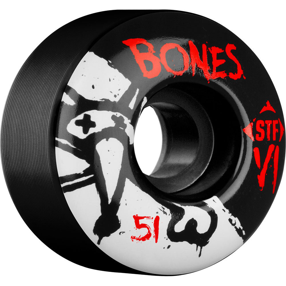 Bones STF V1 Series - Black - 51mm 103a - Skateboard Wheels (Set of 4)