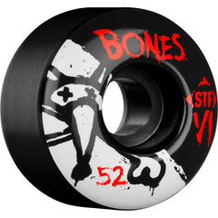 Bones STF V1 Series - Black - 52mm 103a - Skateboard Wheels (Set of 4)