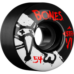 Bones STF V1 Series - Black - 54mm 103a - Skateboard Wheels (Set of 4)