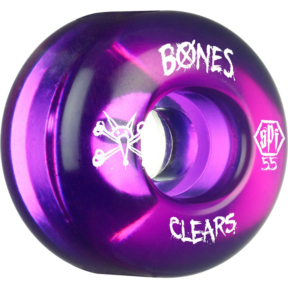Bones Clear SPF - Purple - 55mm 84b - Skateboard Wheels (Set of 4)
