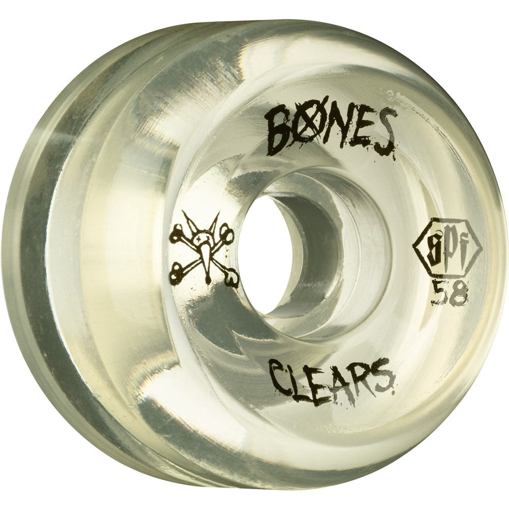 Bones Clear SPF - Clear - 58mm 84b - Skateboard Wheels (Set of 4)