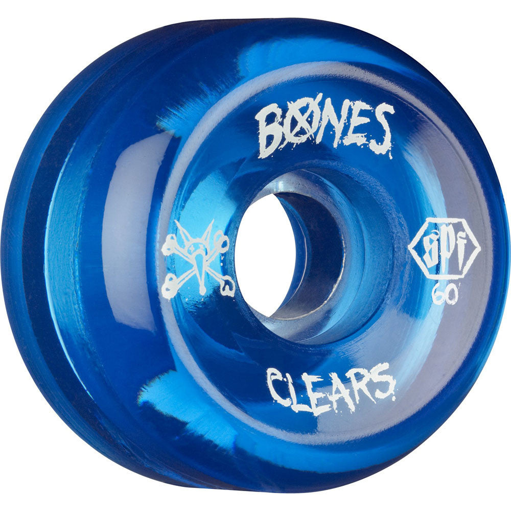 Bones Clear SPF - Blue - 60mm 84b - Skateboard Wheels (Set of 4)
