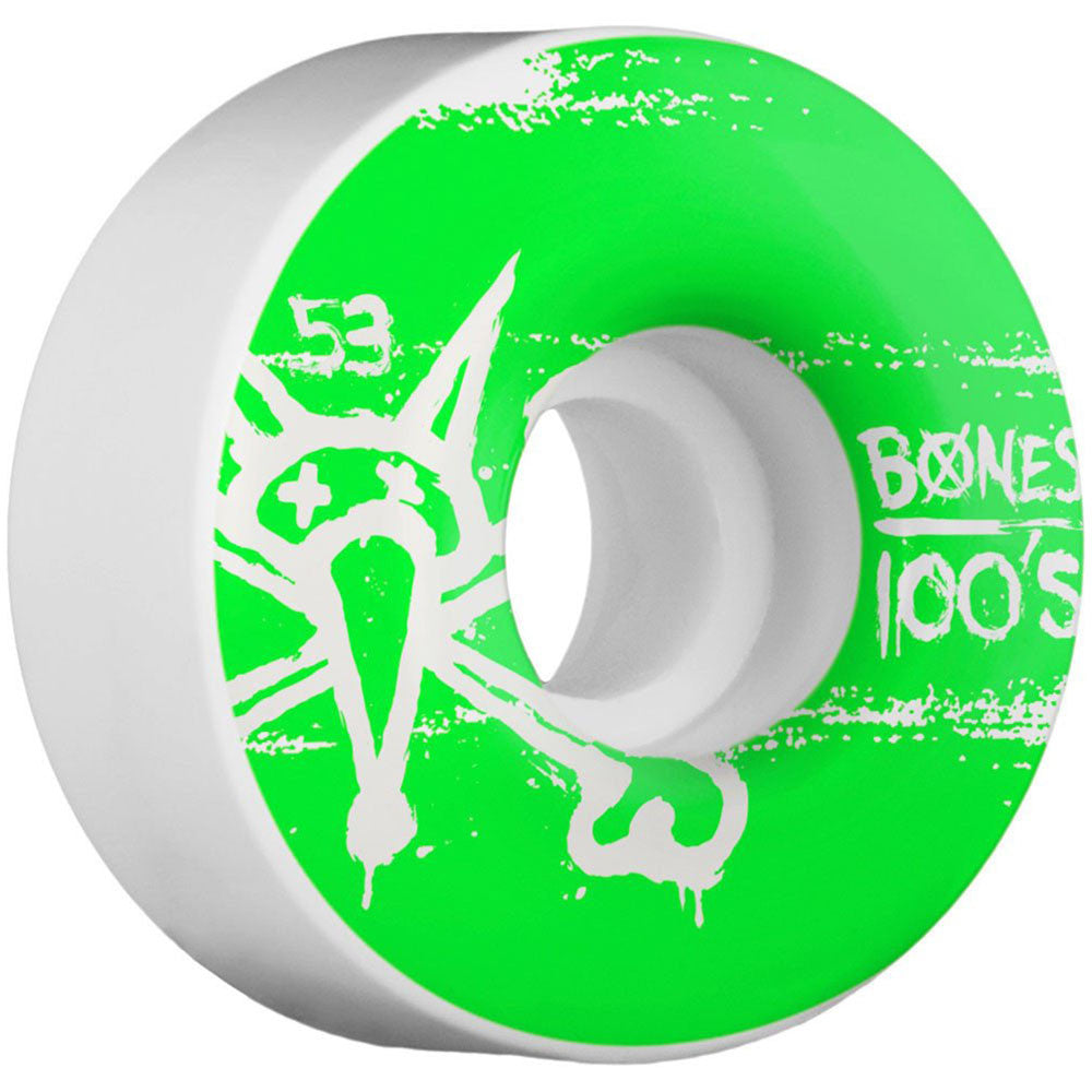 Bones 100's V1 - Green/White - 53mm 100a - Skateboard Wheels (Set of 4)