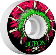 Bones STF Pro Bufoni Head Dress - Black/White - 52mm 83b - Skateboard Wheels (Set of 4)