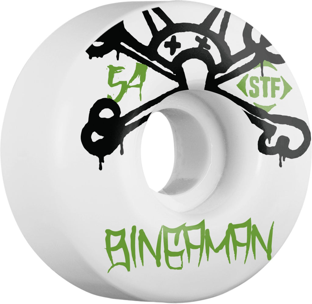 Bones STF Pro Bingaman Mad Chavo - White - 54mm 83b - Skateboard Wheels (Set of 4)