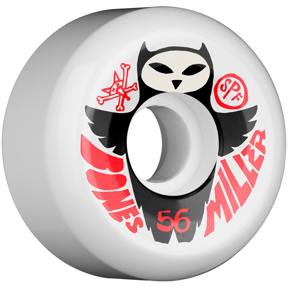 Bones SPF Pro Miller Owl - White - 58mm 84b - Skateboard Wheels (Set of 4)