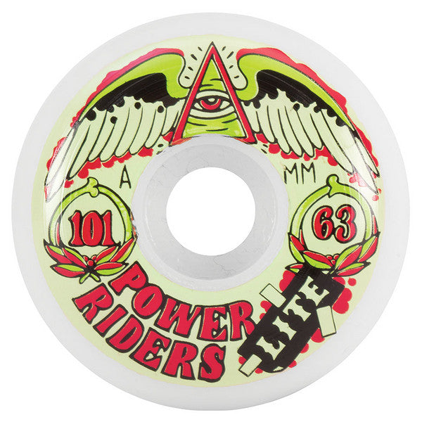 OJ Power Rider Lite - White - 63mm 101a - Skateboard Wheels (Set of 4)