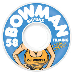 OJ Bowman Big Uns Keyframe - 58mm 87a - Blue/White - Skateboard Wheels (Set of 4)