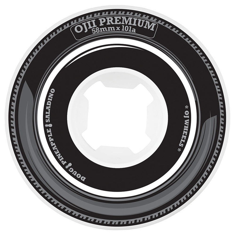 OJ Saladino Premiums - 58mm 101a - Black/White - Skateboard Wheels (Set of 4)