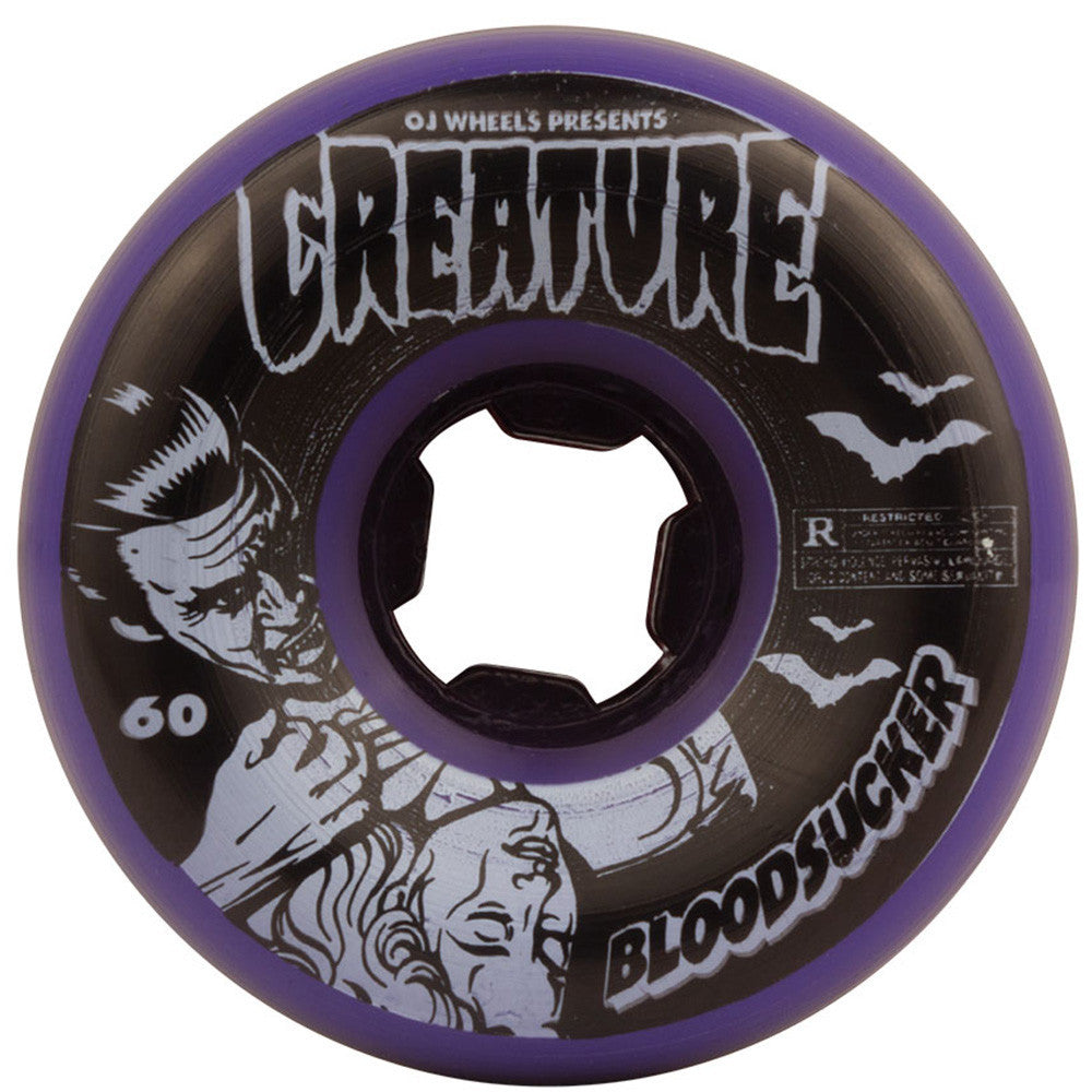 OJ Creature Bloodsucker Fives - 60mm 99a - Purple/Black - Skateboard Wheels (Set of 4)