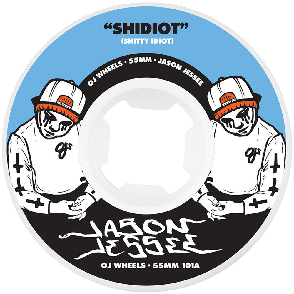 OJ Jessee Shidiot EZ Edge Insaneathane - 55mm 101a - White - Skateboard Wheels (Set of 4)
