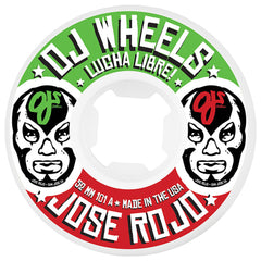 OJ Rojo Lucha Libre Ez Edge Insaneathane - 52mm 101a - White - Skateboard Wheels (Set of 4)