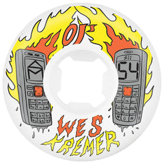 OJ Kremer Burners EZ Edge RIP - 54mm 101a - White - Skateboard Wheels (Set of 4)