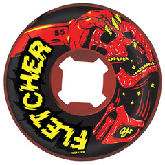 OJ Fletchher Mortal - 55mm 101a - Black/Red Swirl - Skateboard Wheels (Set of 4)