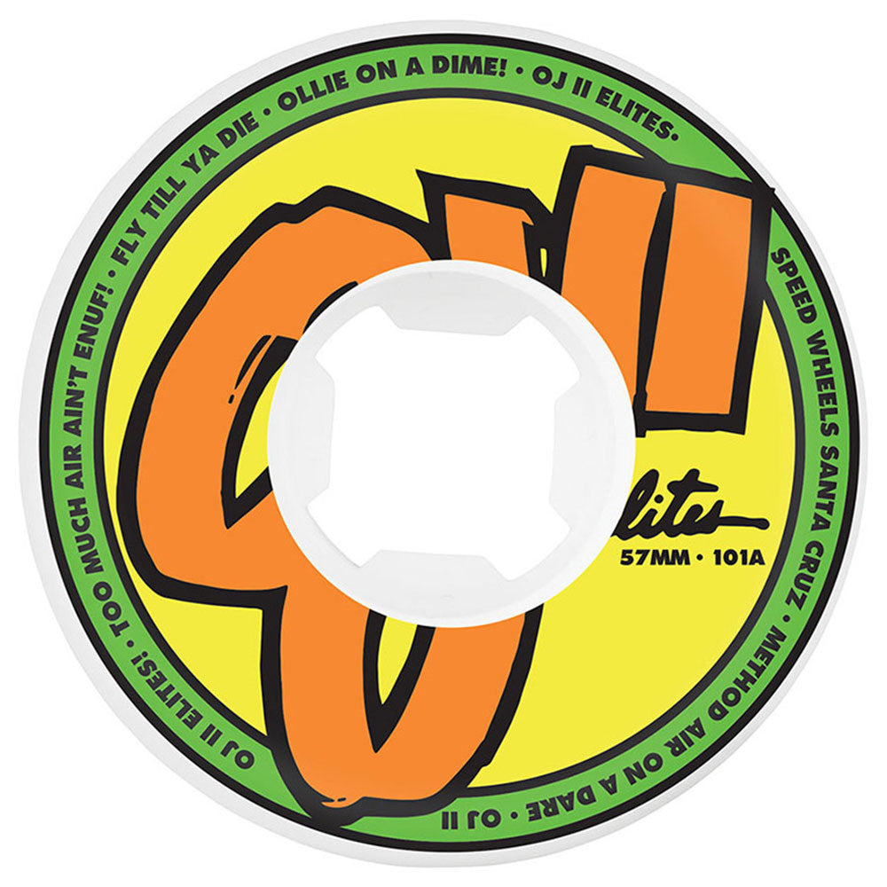 OJ Elites EZ Edge - 57mm 101a - White - Skateboard Wheels (Set of 4)