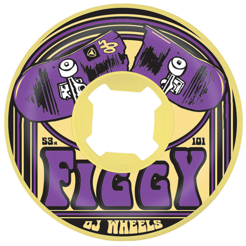 OJ Figgy Purps EZ Edge - 53mm 101a - Yellow/Purple - Skateboard Wheels (Set of 4)