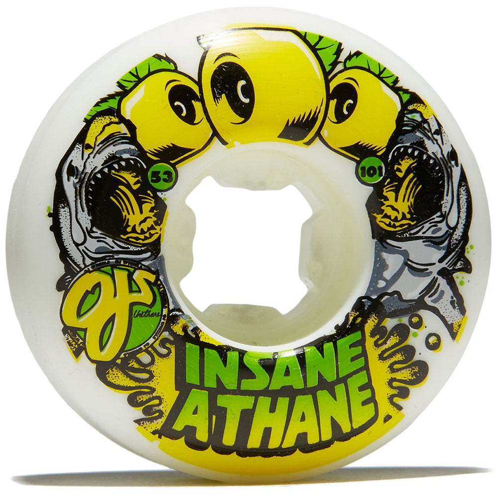 OJ Sharks EZ Edge Insaneathane - 53mm 101a - White/Yellow - Skateboard Wheels (Set of 4)