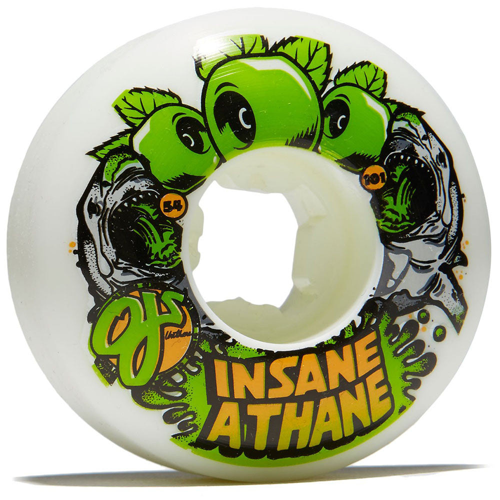 OJ Sharks EZ Edge Insaneathane - 54mm 101a - White/Green - Skateboard Wheels (Set of 4)