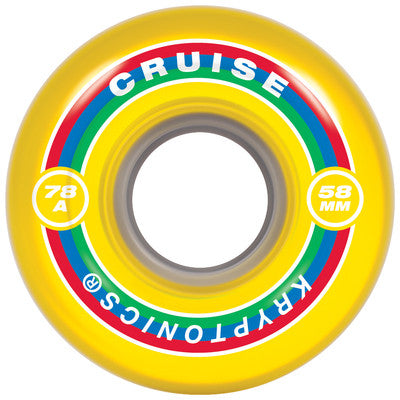 Kryptonics Cruise - Yellow - 58mm 78a - Skateboard Wheels (Set of 4)